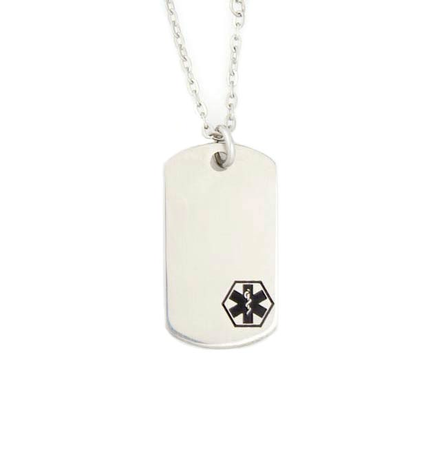 Uptown Mini Black Caduceus Medical ID Dog Tag