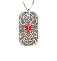 Dog tag medical alert necklace with thorn pattern patina inlay and silver stainless steel chain