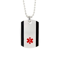 The silver-tone stainless William Medical ID Dog Tag Necklace with black border along each side and red caduceus, on a chain