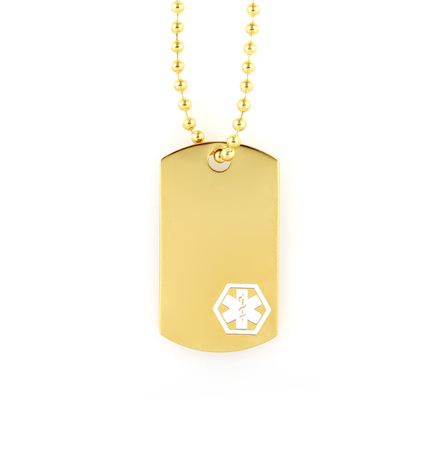 Gold Tone Mini Medical Alert Dog Tag