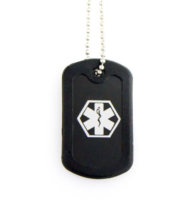 """Black Dog Tag Medical ID Necklace. One 2"""" x 1-1/4"""" aluminum black tag with white caduceus and silencer on stainless ball chain"""