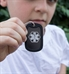 """Boy wearing Dog Tag Medical ID Necklace. 2""""x1-1/4"""" aluminum black tag with white caduceus and silencer. Stainless ball chain"""