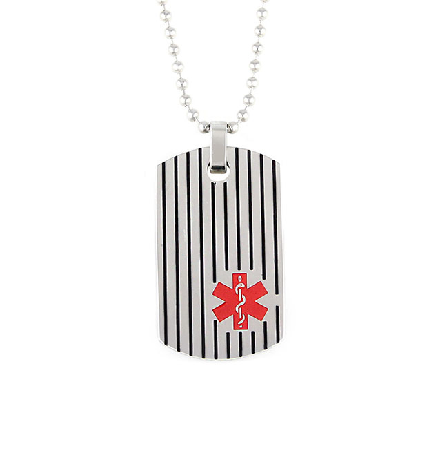 James Medical ID Dog Tag Necklace