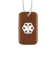 "Mark Medical Alert Dog Tag With Chain. A 1"" x 1 ¾"" dog tag with copper color finish and white caduceus on a ball chain"