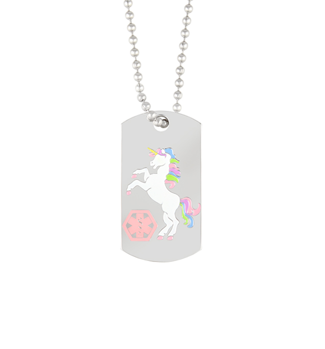 Unicorn Medical ID Dog Tag, a silver-tone stainless tag with white unicorn with multi-color mane and pink caduceus on a chain