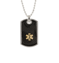 Medical ID dog tag necklace with black background and gold medical symbol