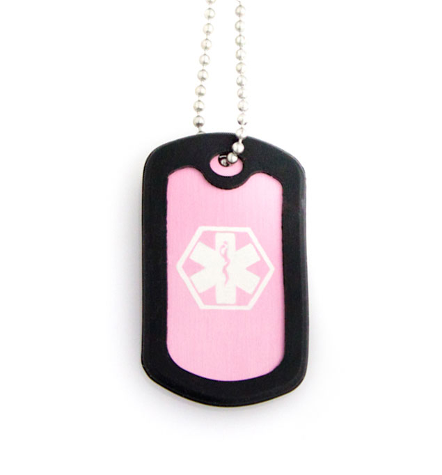 Pink Dog Tag Medical ID Necklace