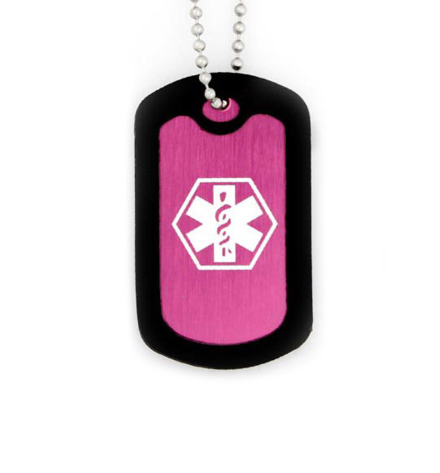Hot Pink Dog Tag Medical ID Necklace
