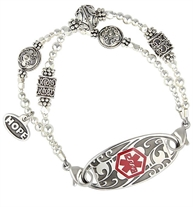 Sterling silver decorative beads on medical alert bracelet with decorative medical ID tag