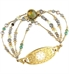 Bracelet made of Labradorite centerstone in hand-gold-leafed bezel setting with Freshwater pearls, grey moonstones, smoky quartz, faceted crystals Gold, gold-dipped, and gold-filled elements attached to ID tag