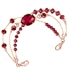 Multi-faceted, gold bezel-set ruby red center stone accented with Gold and Rose gold elements interchangeable bracelet