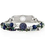 Beaded medical ID bracelet with dark blue and green beads