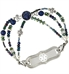 Beaded medical ID bracelet with dark blue and green beads with ID tag