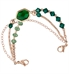 Rose gold and emerald green medical ID bracelet with large green center stone and no ID tag