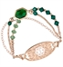 Rose gold and emerald green medical ID bracelet with large green center stone and rose gold medical ID tag