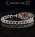 Sterling silver curb chain medical alert bracelet with cubic zirconia inlay