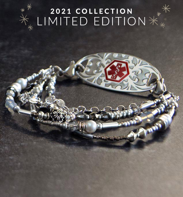 Multi strand medical alert bracelet with sterling silver beaded accents and decorative medical ID tag