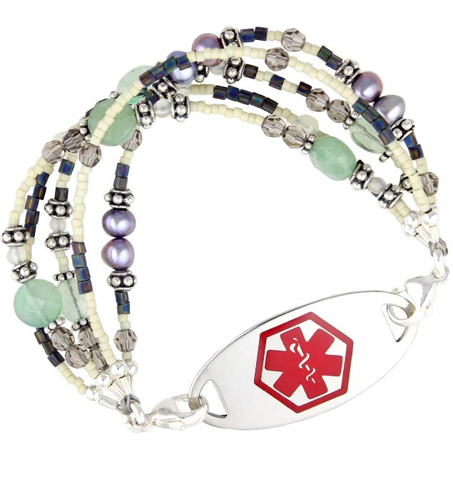 Sea Glass Medical ID Bracelet with Tag
