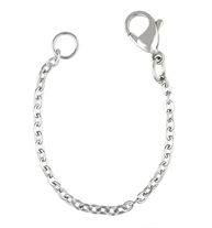 4 inch silver tone stainless necklace extender with lobster clasp on one end and o-ring on the other, on white background