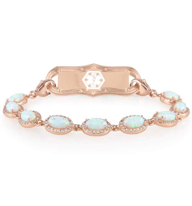 Opal Medical ID Bracelet in Rose Gold. 1-strand bracelet, oval-shaped opals, cubic zirconia, with La Petite Medical ID Tag