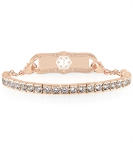 Rose gold tone crystal tennis bracelet style interchangeable bracelet strand attaches to ID tag