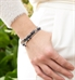 Woman wearing Julia Medical Alert Bracelet with rose gold and navy beaded accents