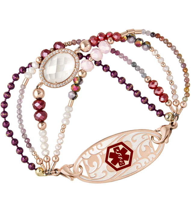 Rose gold beaded medical ID bracelet with red, maroon, pink and purple crystals and clear center stone with decorative medical ID tag