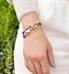Rose gold beaded medical ID bracelet with dendritic opal centerpiece stone
