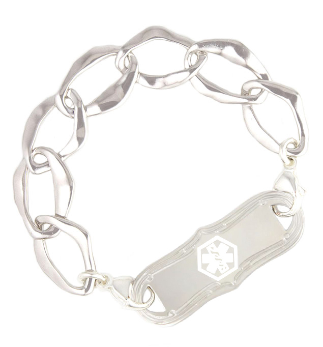 Silver Medical Alert Bracelet with a stainless La Petite medical ID tag with white caduceus attached with lobster clasps