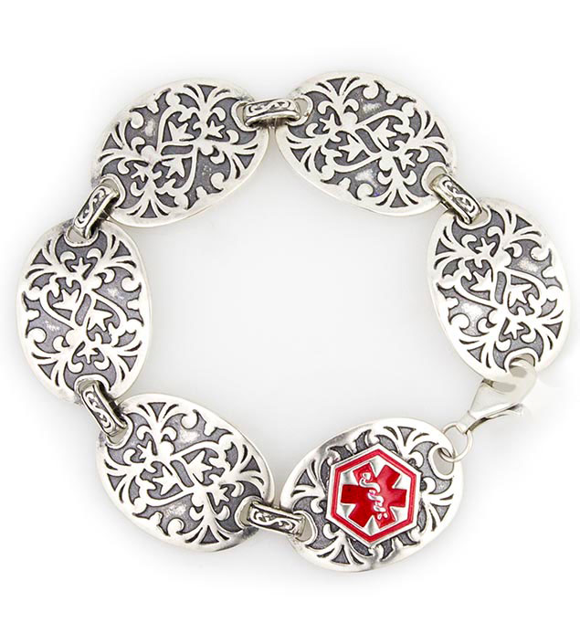 Gardenia Sterling Silver Medical ID Bracelet