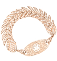 Intricate rose gold women's bracelet with feather pattern, inset cubic zirconia, and rose medical alert tag