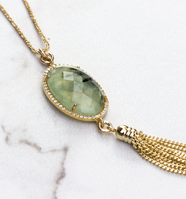 Rylan Necklace in Gold and Jade