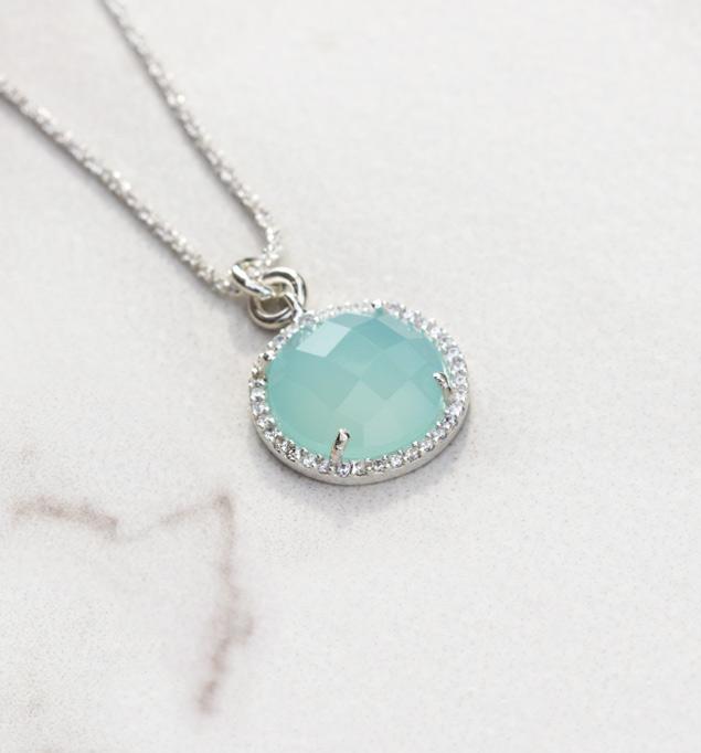 Mia Necklace in Silver and Aqua