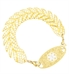 The Gold Feather Medical ID Bracelet shown with the Gold Tone Gardenia Medical ID Tag. White caduceus on tag is centered