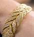 Close-up of links in the Gold Feather Medical ID Bracelet. Cubic Zirconia crystals, pave set in gold-plated sterling silver