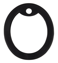 Black silicone replacement silencer that goes around a dog tag to soften the edges.