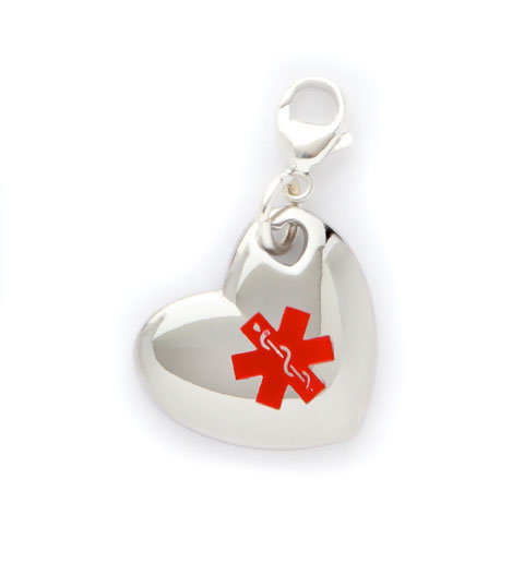 Stainless Puff Heart Medical Alert Charm