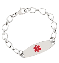 Flat view of Easton Medical ID Bracelet. Silver tone stainless chain, oval med ID tag and red caduceus. Lobster clasp, O-ring