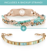 Sedona Med ID Bundle includes 3-strand beaded Sedona Medical ID Bracelet and 1-strand flat leather Echo Medical ID Bracelet