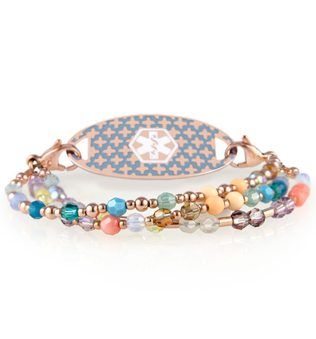 Three-strand beaded rose gold medical alert bracelet with multicolor crystals and rose tone medical alert tag