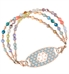 Skylar Medical Alert Bracelet. A 3-strand bracelet with 7 colors of crystals with rose gold accents and Journey med ID tag
