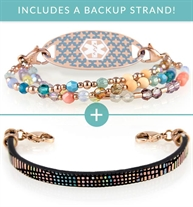 The Wildflower Med ID Bundle includes 3-strand beaded Skylar Medical Alert Bracelet and flat black Remi Leather Med ID Band