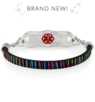 Black and multicolored leather band medical ID bracelet with silver tone lobster clasps