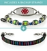 Good Vibes Med ID Bundle | includes Ziggy Leather Band and a beaded bracelet in color-changing mood beads, oval border ID tag