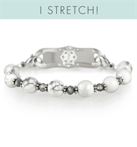 Londyn Stretch Medical ID Bracelet - round white marble (howlite) beads with small gray beads and silver lobster clasps and white medical ID symbol and silver ID tag