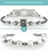 The Wow Factor Stretch Med ID Bundle with two silver-tone 1-strand beaded stretch bracelets, the Carrie and the Londyn