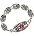 """Antique Gate Medical ID Bracelet, a chain of stainless black-filled scrolled links in ¾"""" x ½"""" size with Oval Filigree ID Tag"""
