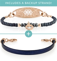 Casual Friday Med ID Bundle | 1 leather and 1 stretch beaded bracelet in navy and rose gold. Rose Gold Gardenia Med ID Tag