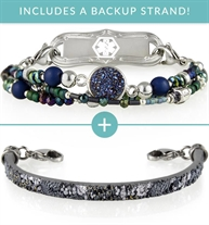 Medical ID bundle with blue beaded medical ID and sparkle leather medical ID