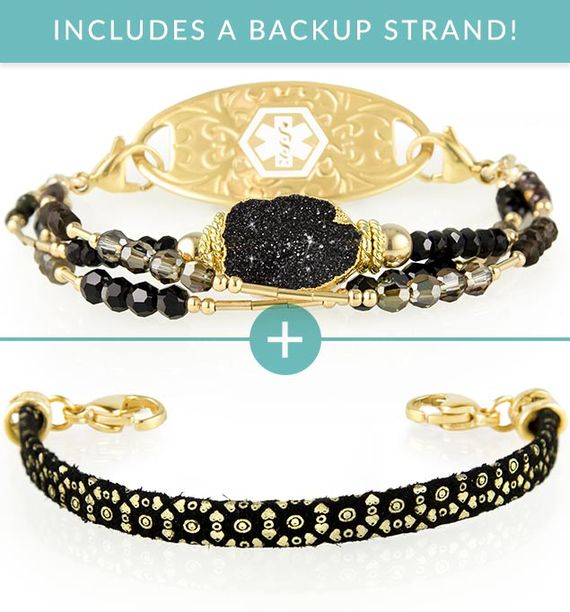 Love Song Med ID Bundle includes black crystal and gold accent Cher Medical ID Bracelet with black and gold leather Medical ID Bracelet